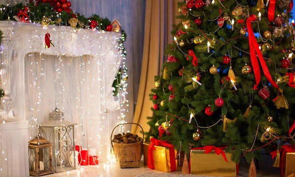 Christmas tree with fireplace, Christmas holiday and New Year.