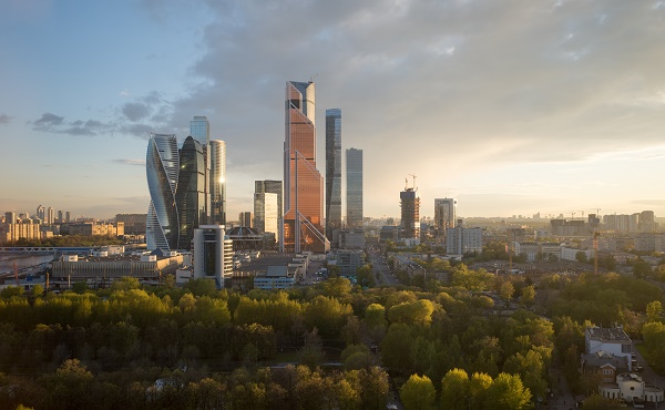 Modern,Cityscape.,Moscow-city,,Russia.,Moscow,International,Business,Center.,At,Sunset.